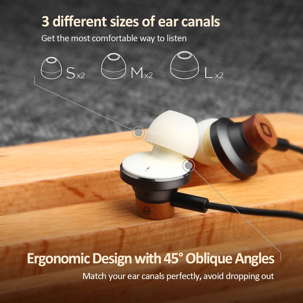Wood In-Ear Headphones Earbuds, Omars High Definition Cherrywood Wired Headset with Mic, Noise Cancelling Earphones for 3.5mm Jack iPhone, iPad, Car Kit, Huawei, Nokia, Tablet, iPod, MP3 Devices, ect.