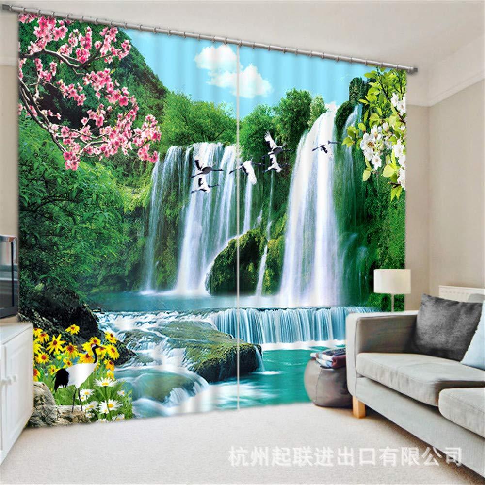 qcl3d Vorhänge Vorhang Gardinen Büro Vorhänge_3D Vorhänge Wasserfälle Kräne Wasser und Reichtum dreidimensionalen Druck Wohnzimmer Arbeitszimmer Büro (Breite 5 M * Höhe 2,6 M)