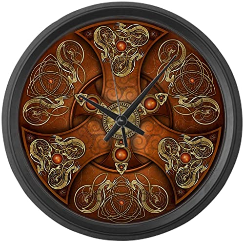 CafePress Celtic Shields Copper Chieftain Large 17 Round Wall Clock, Unique Decorative Clock