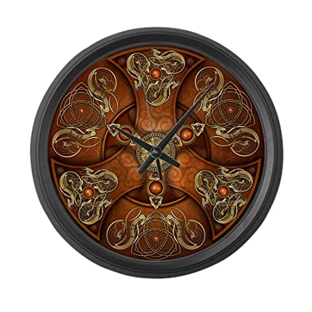 CafePress – Celtic Shields – Copper Chieftain – Large 17 Round Wall Clock, Unique Decorative Clock