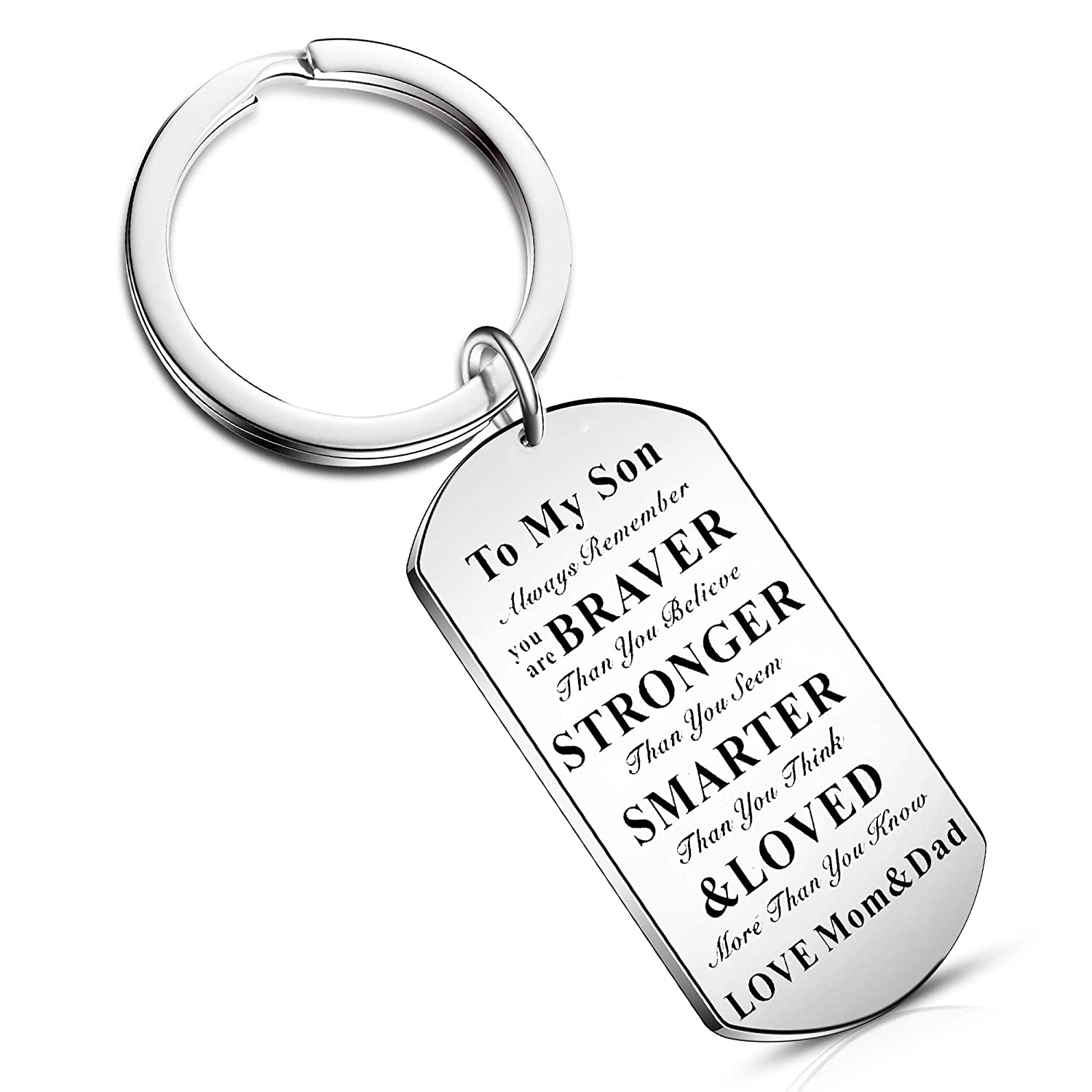 Inspiration Keychain from Dad Mom Gift to Son Daughter Graduation Birthday  You are Braver Smarter Stronger (to My Daughter)