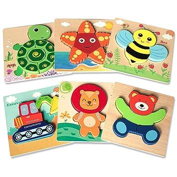 Amazon.com: Puzzles de madera Puzzles Juguetes para niños 1 ...
