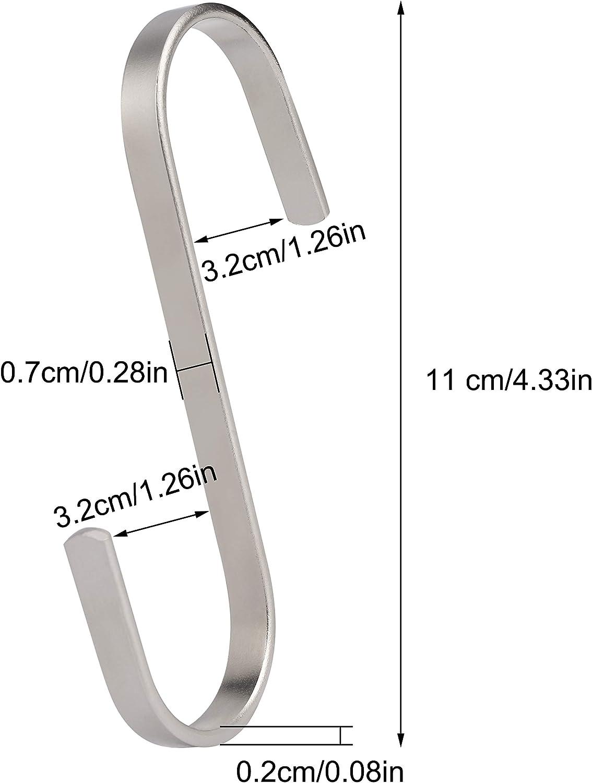 Toalla de Ba/ño Plata Ganchos en Forma de S 11cm Grandes de Acero Inoxidable Metal Gancho de Alta Resistencia para Colgar Utensilios de Cocina Bufanda Plantas 10 Piezas