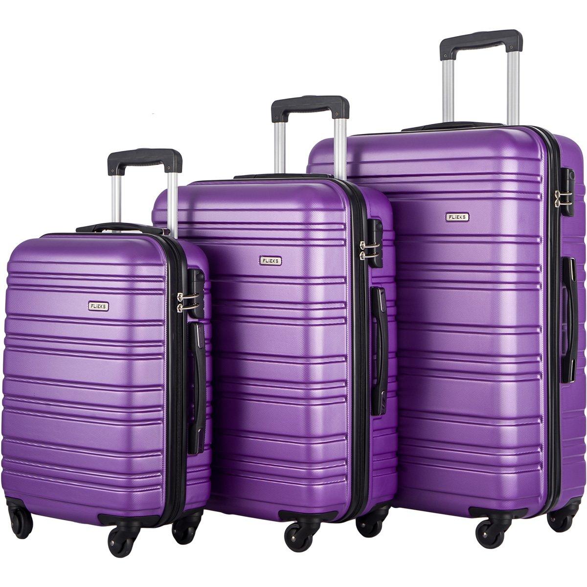 FLIEKS Luggages 3 Piece Luggage Set Spinner Suitcase (Purple)