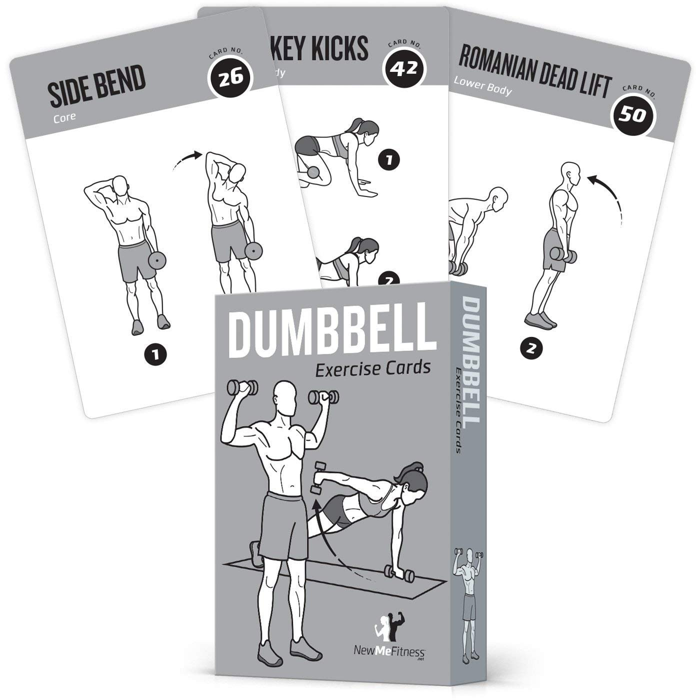"EXERCISE CARDS DUMBBELL Home Gym Workouts Strength Training Building Muscle Total Body Fitness Guide Workout Routines Bodybuilding Personal Trainer Large Waterproof Plastic 3.5""x5"" Cards Burn Fat NewMe Fitness"