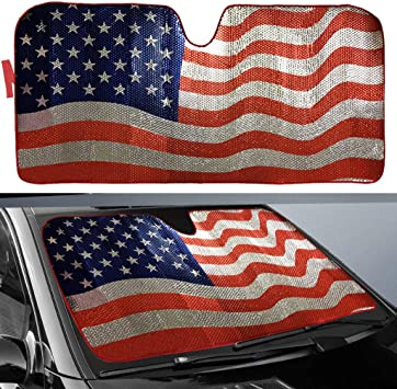 The United States of America USA Red White Blue Stars Stripes American US Flag Car Truck SUV Universal Fit Front Windshield Sunshade Accordion Style