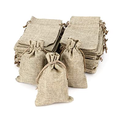 RUBY - Bolsitas Saco de Yute 9,5cm x 13,5cm para Regalo joyeria, bolsitas para Regalos de Tela de arpillera, Bodas, comuniones, bautizos, reuniones, ...
