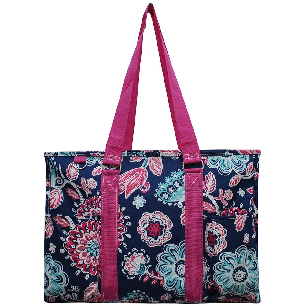 NGIL All Purpose Organizer 18'' Large Utility Tote Bag 2018 Spring Collection (Medievil Blossom Hot Pink)