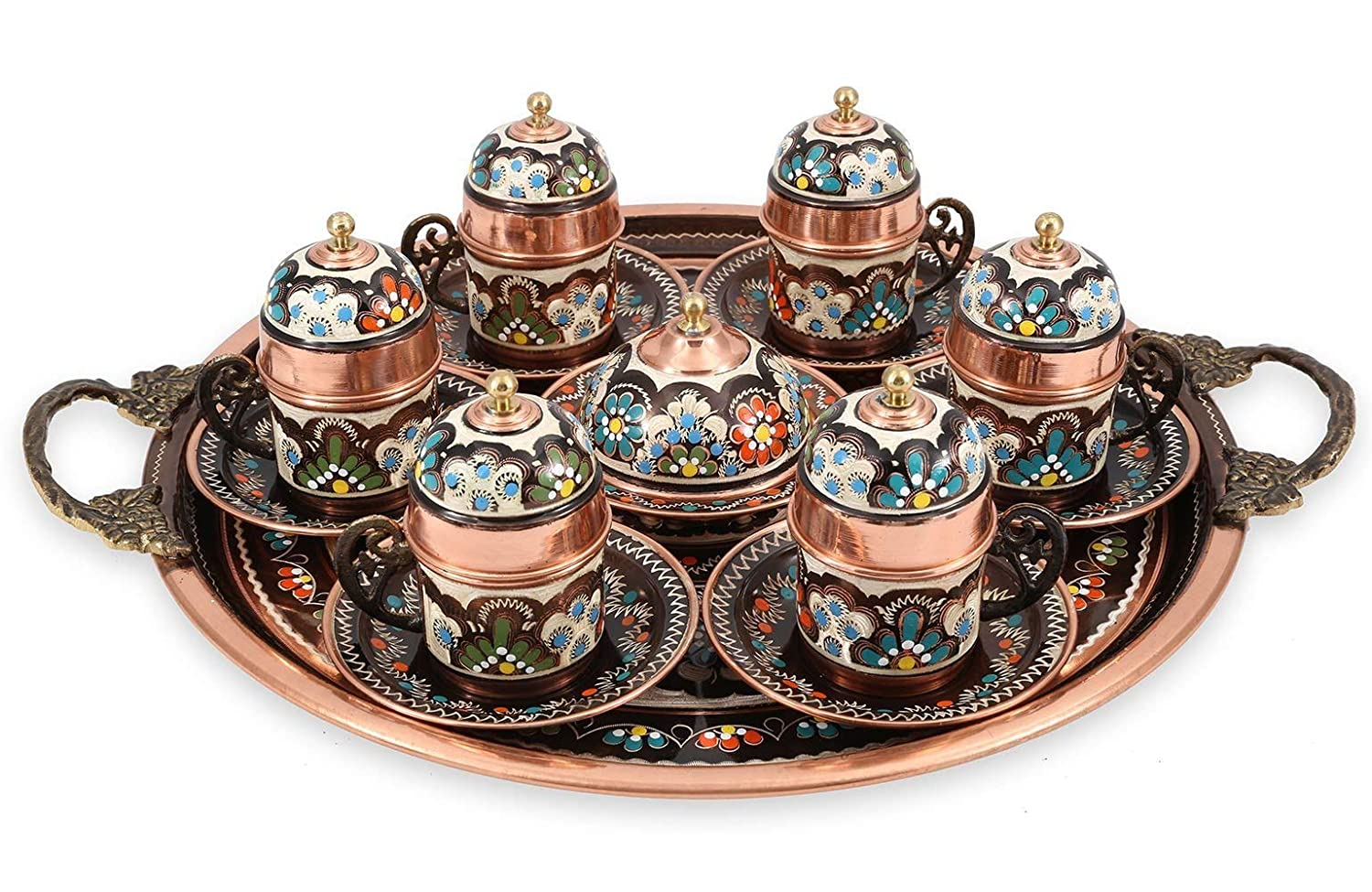 Traditional Design Handmade Copper Turkish Arabic Armenian Greek Coffee Set Espresso Set Coffee Cup Tea Set for Six-(CS6-118)