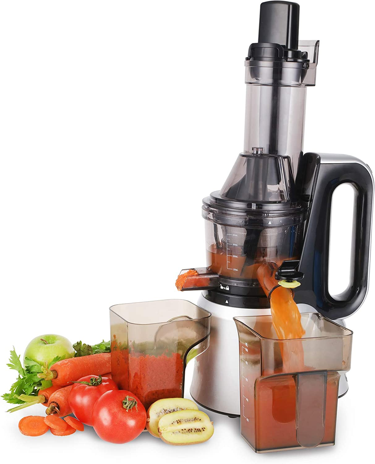 Cusimax CMSJ-800S 240W Slow Juicer,50 RPMs Quiet Fruit Vegetable Masticating Juicer for Highly Efficient Juice Extraction, Sliver