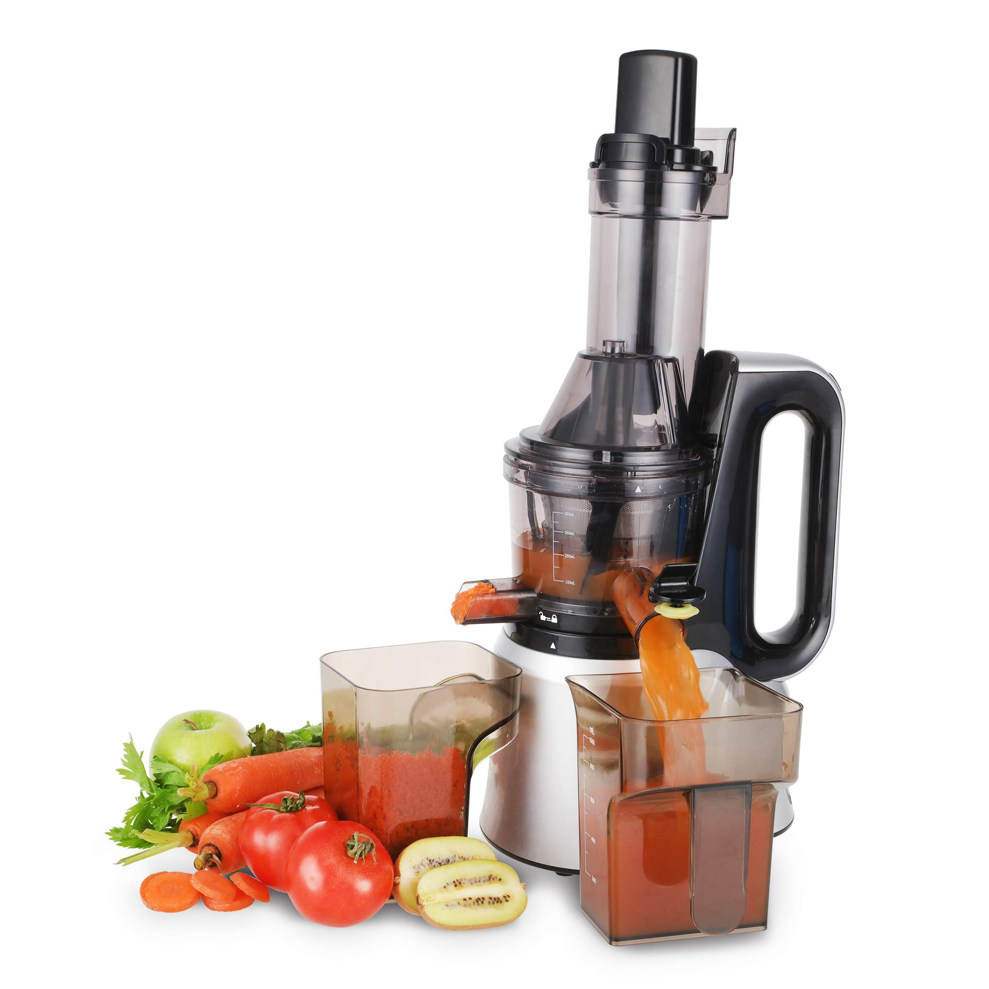 Cusimax CMSJ-800S 240W Slow Juicer,50 RPMs Quiet Fruit Vegetable Masticating Juicer for Highly Efficient Juice Extraction, Sliver by CUSIMAX