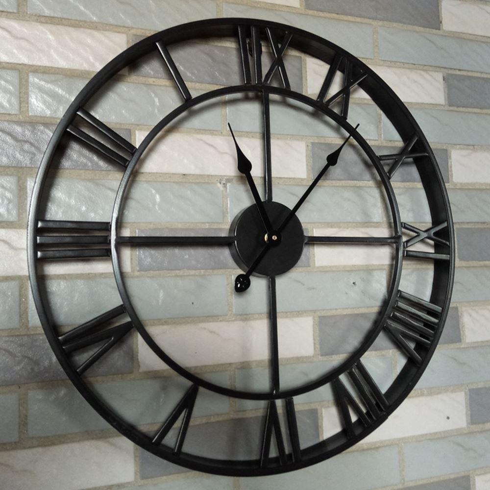 Y-Hui Metall Retro Wohnzimmer Uhren Batterie 1-seitig Dekorative Schwarz Extra große Mute Wanduhr, die Anderen 47 cm Schwarz