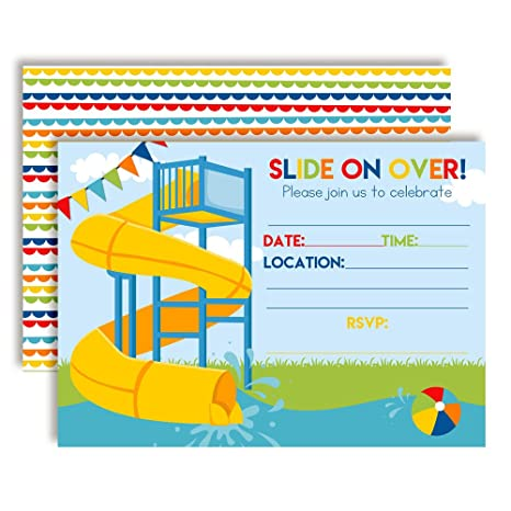 Amazon Slide Into Summer Waterslide Birthday Party Invitations