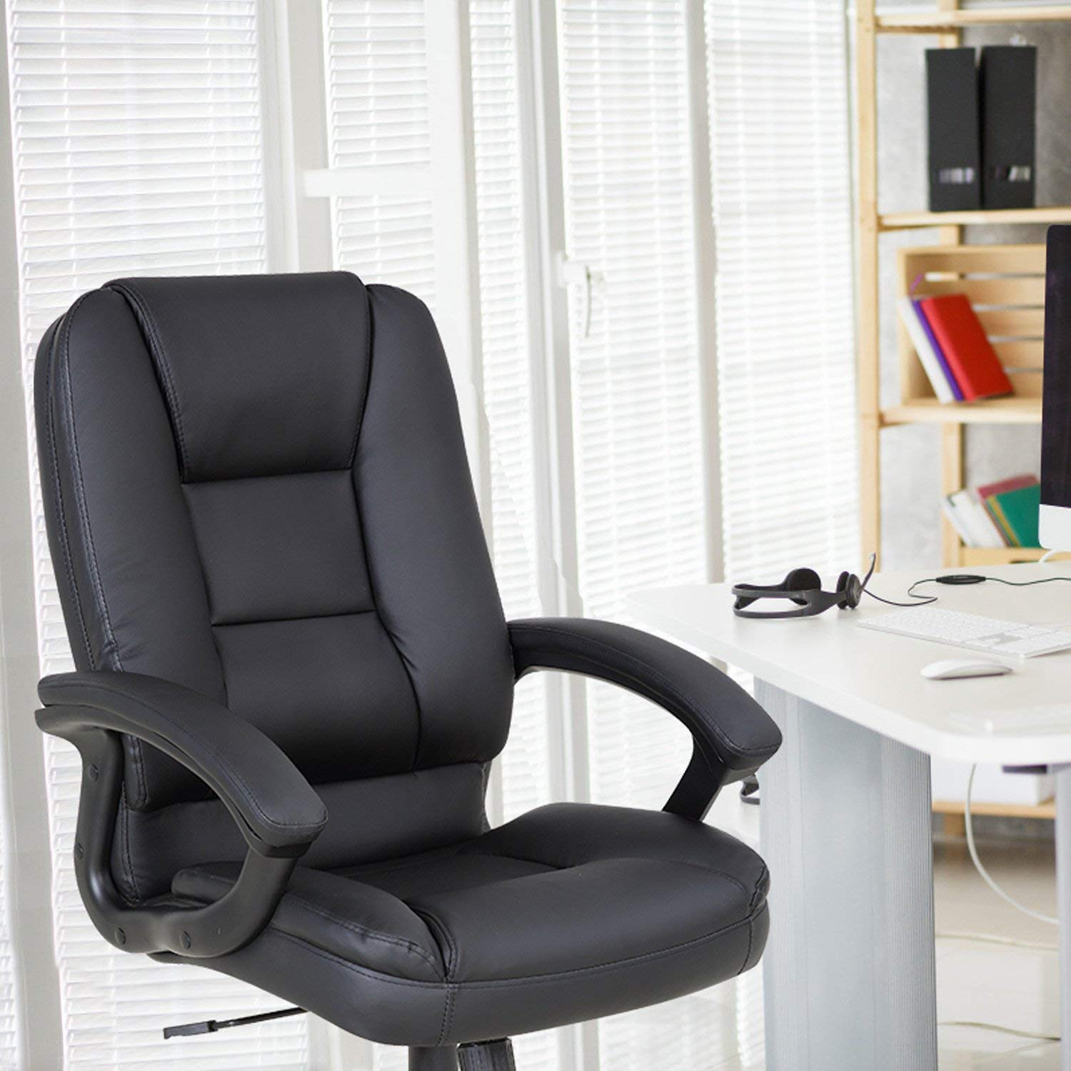 LCH PU Leather Office Chair Swivel Executive Chair with Tilt Function and Thick Seat, Ergonomic Computer Chair Headrest and Lumbar Support (Black) by LCH (Image #9)