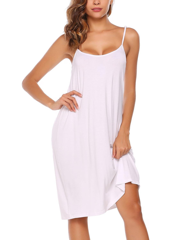 BEAUTYTALK Womens Spaghetti Strap Pajamas Nightgown Mini Slip Sleepwear White/_XL