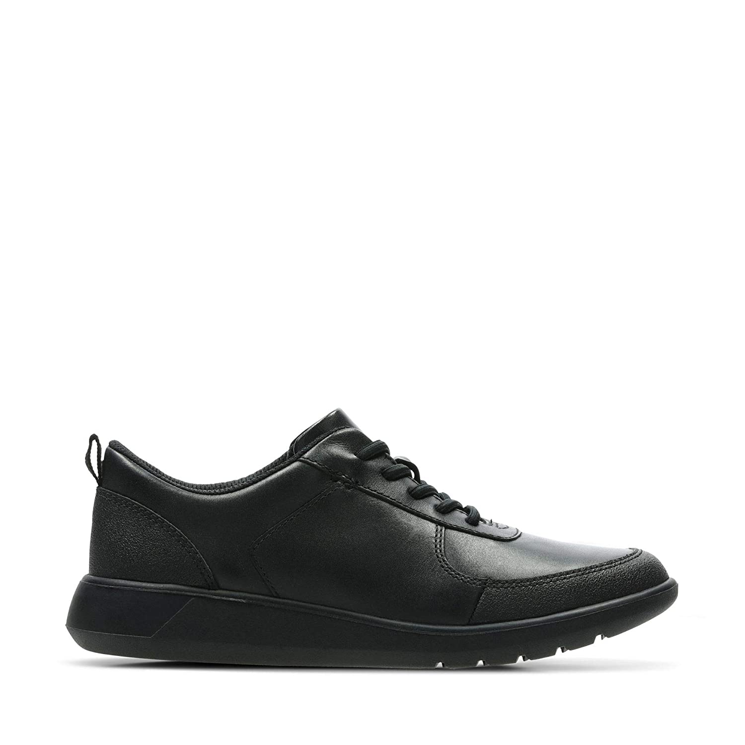 Clarks Scape Street Youth Leather Shoes in Black