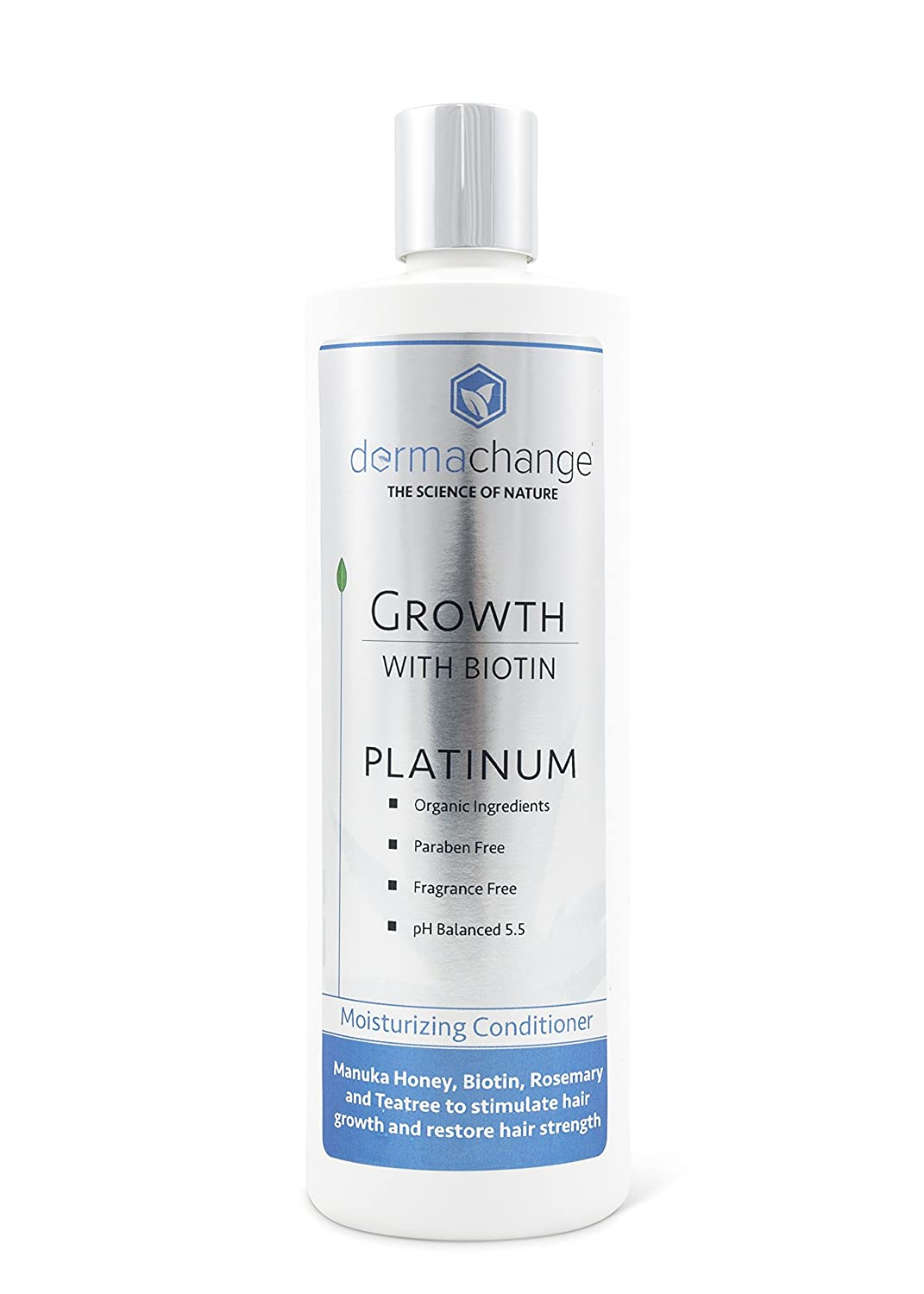 DermaChange Platinum Hair Growth Moisturizing Conditioner - With Argan Oil, Biotin & Tea Tree Extract - Supports Hair Regrowth - Hair Loss Treatments (16 oz) - Made in USA