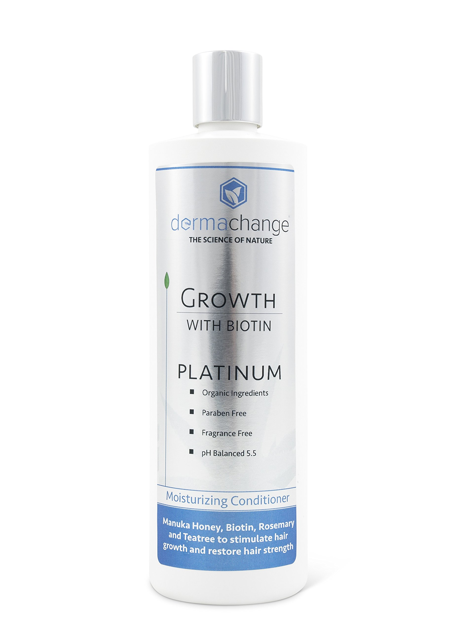 DermaChange Platinum Hair Growth Moisturizing Conditioner - With Argan Oil, Biotin & Tea Tree Extract - Supports Hair Regrowth - Hair Loss Treatments (16 oz) - Made in USA by DermaChange