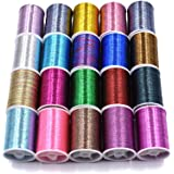 20 Spools Assorted Colors Flash Tinsel Thread Fly Tying Materials