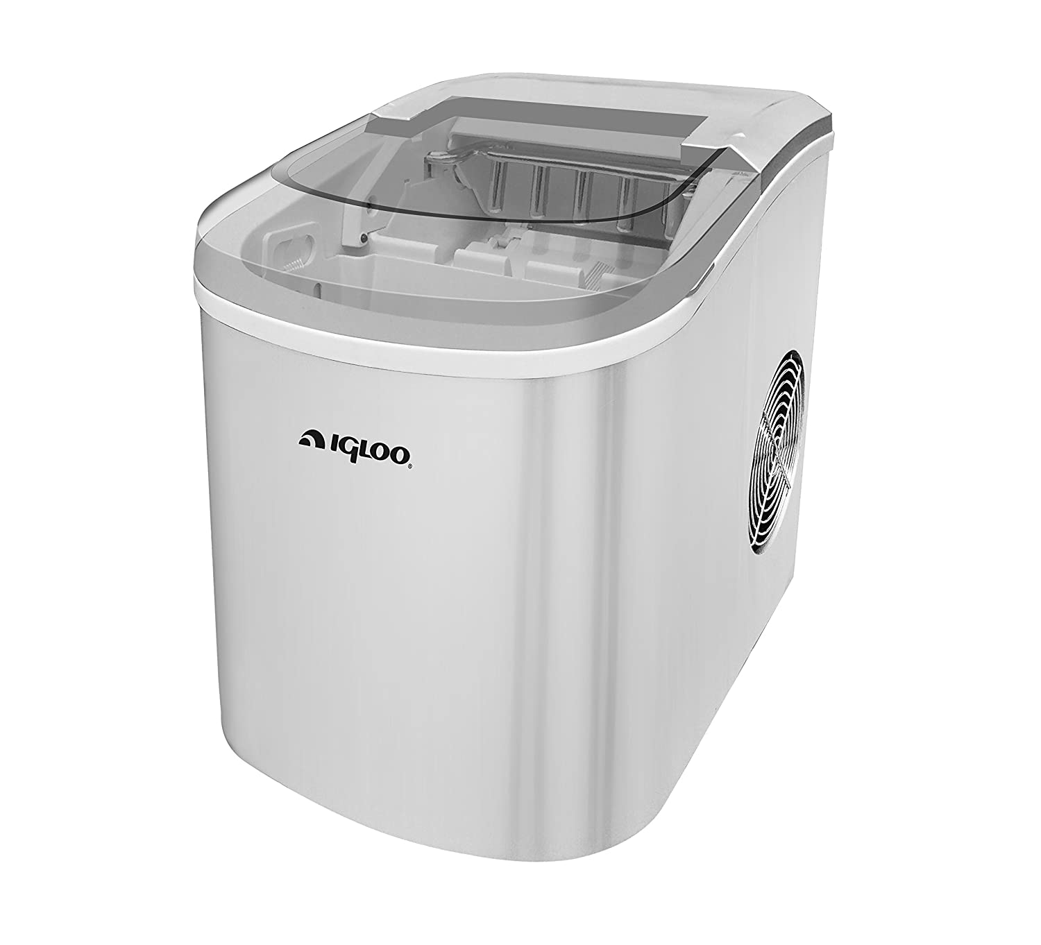Igloo ICE206 Counter Top Compact Ice Maker, Silver, with See-through Lid