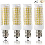 E12 LED, Dimmable Candelabra Base E12 Bulbs, ALL-NEW(102PCS), 7W E12 Led Bulb 75W Equvilent,730LM , 360 Degree Beam Angle T3/T4 Candelabra Base Corn Bulb, AC110-130V, 4-PACK … (7W, Warm White)