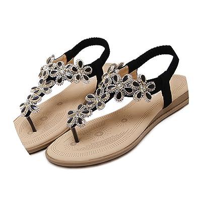 8e86905c43f1 Image Unavailable. Image not available for. Color  New-Loft-Woman shoes  Summer T-Strap Flip Flops Thong Flat Sandals Flowers