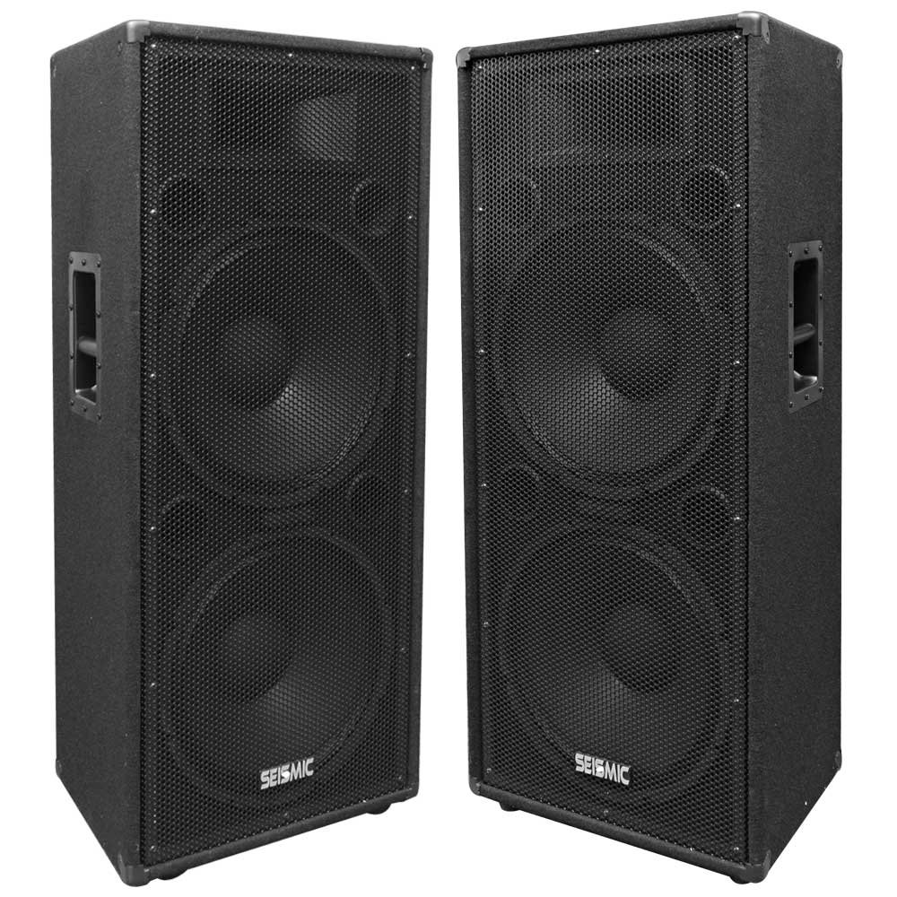 Seismic Audio - FL-155PC - Pair of Dual Premium 15'' PA/DJ Speaker Cabinets with Titanium Horns - Wheel Kits and Rear Handles - 800 Watts RMS per Cabinet