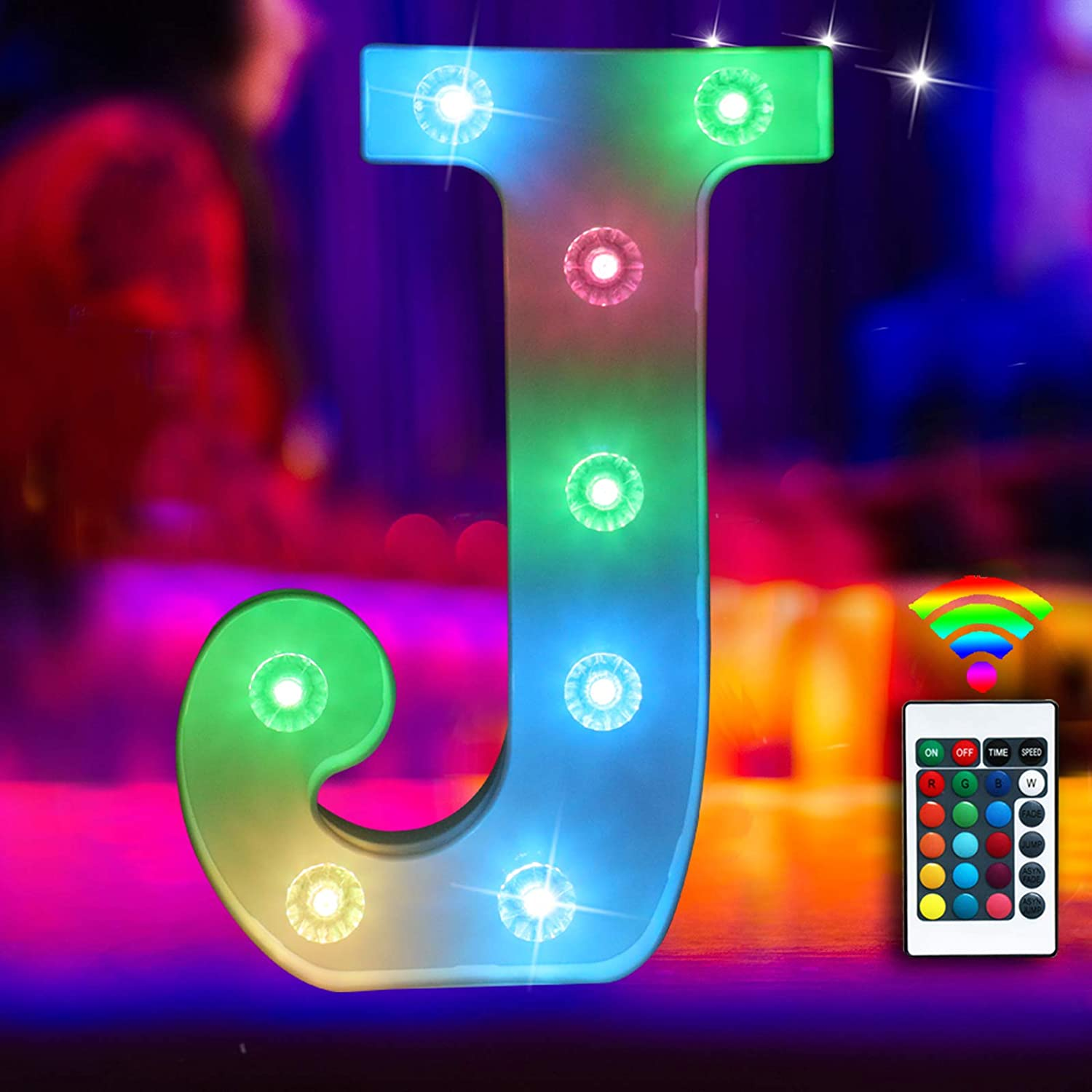 Elnsivo 16color Changing LED Marquee Letter Lights Lighted Colorful 26Alphabet Letter with Remote Control Multicolor Letter Lamp for Wall Wedding Party Christmas Home Bar Decoration(RGB Letter J)
