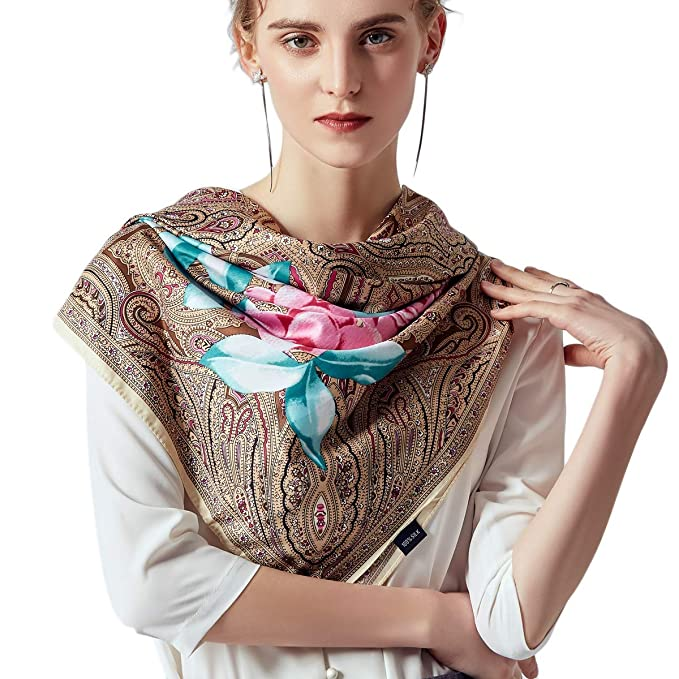 """f3944c8f3 51"""" Large Square Scarf Women Twill Satin Silk Like Print Shawl Wrap  Scarves with Gift"""