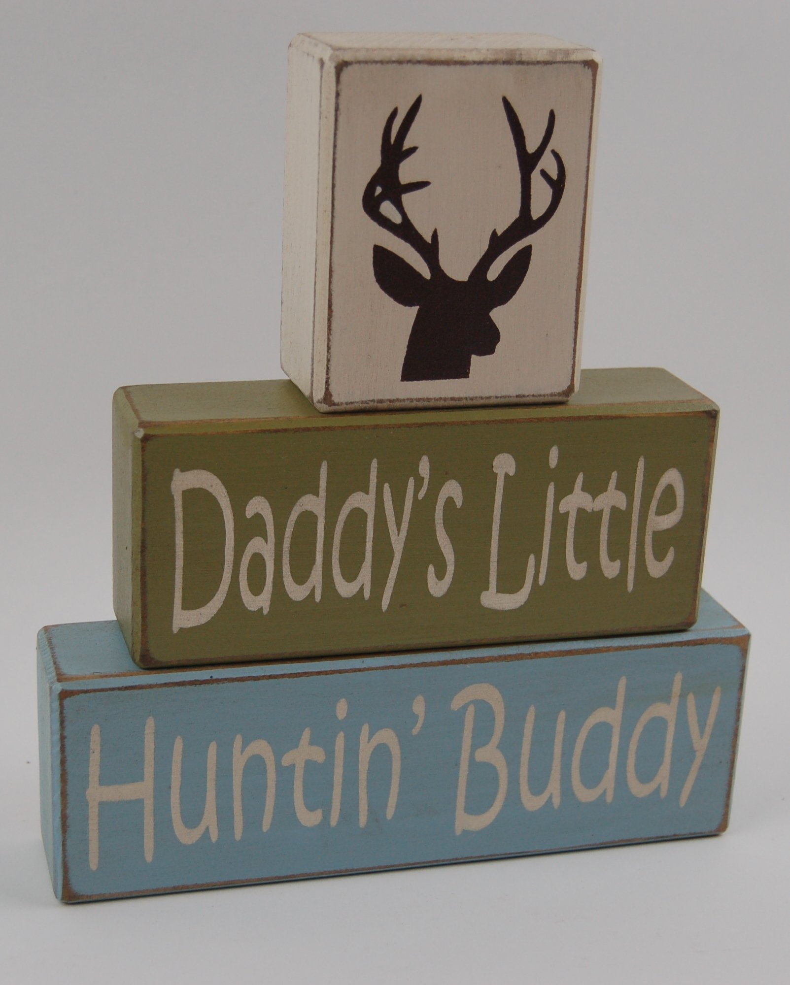 Daddy's Little Hunting Buddy-Elk-Deer-Boys Room Home Decor Hunting Theme Primitive Country Distressed Wood Stacking Sign Blocks