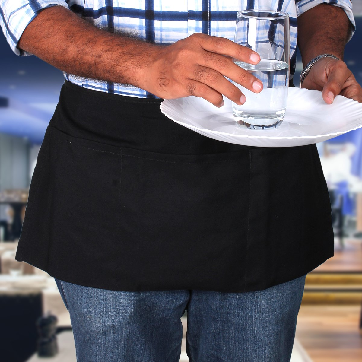 White half apron ebay - Restaurant Check Holder Bartender Half Aprons 3 Waist