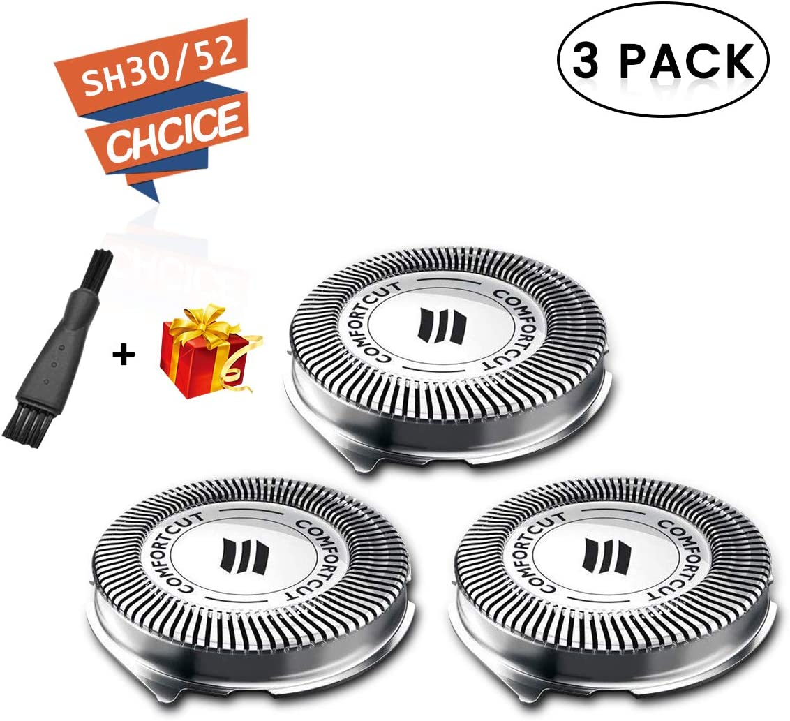 SH30 Replacement Heads for Philips Norelco Electric Shaver Series 1000, 2000, 3000 Click and Style with 9 Sharp Blade, Easy Cut & Replace, 3 - Pack