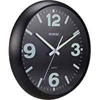 HOSEK Luminous Wall Clock, Matte Black, Chrome Black, (H-9405)