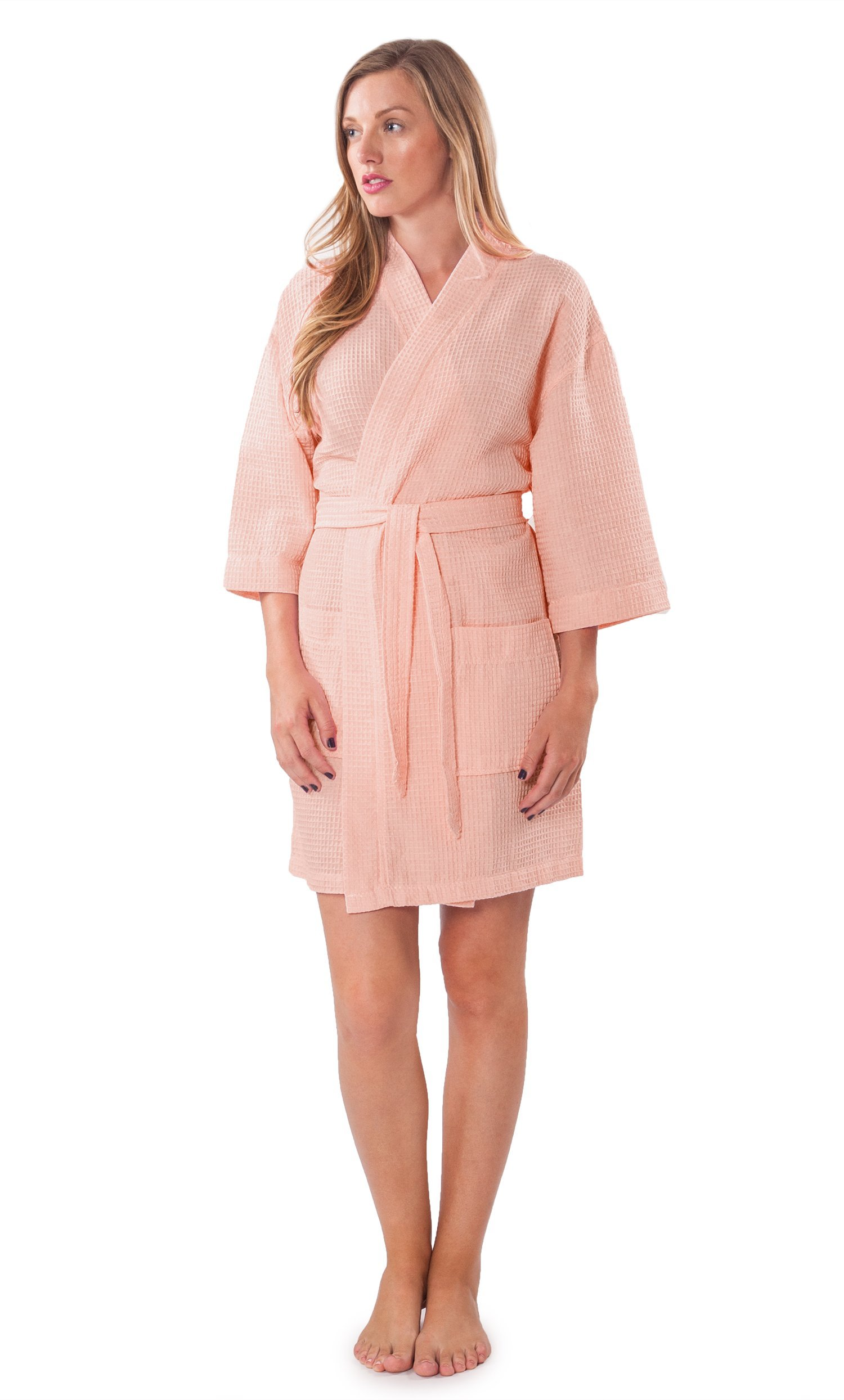 96711c784d Galleon - Turquaz Linen Lightweight Knee Length Waffle Kimono Bridesmaids Spa  Robe (XXL