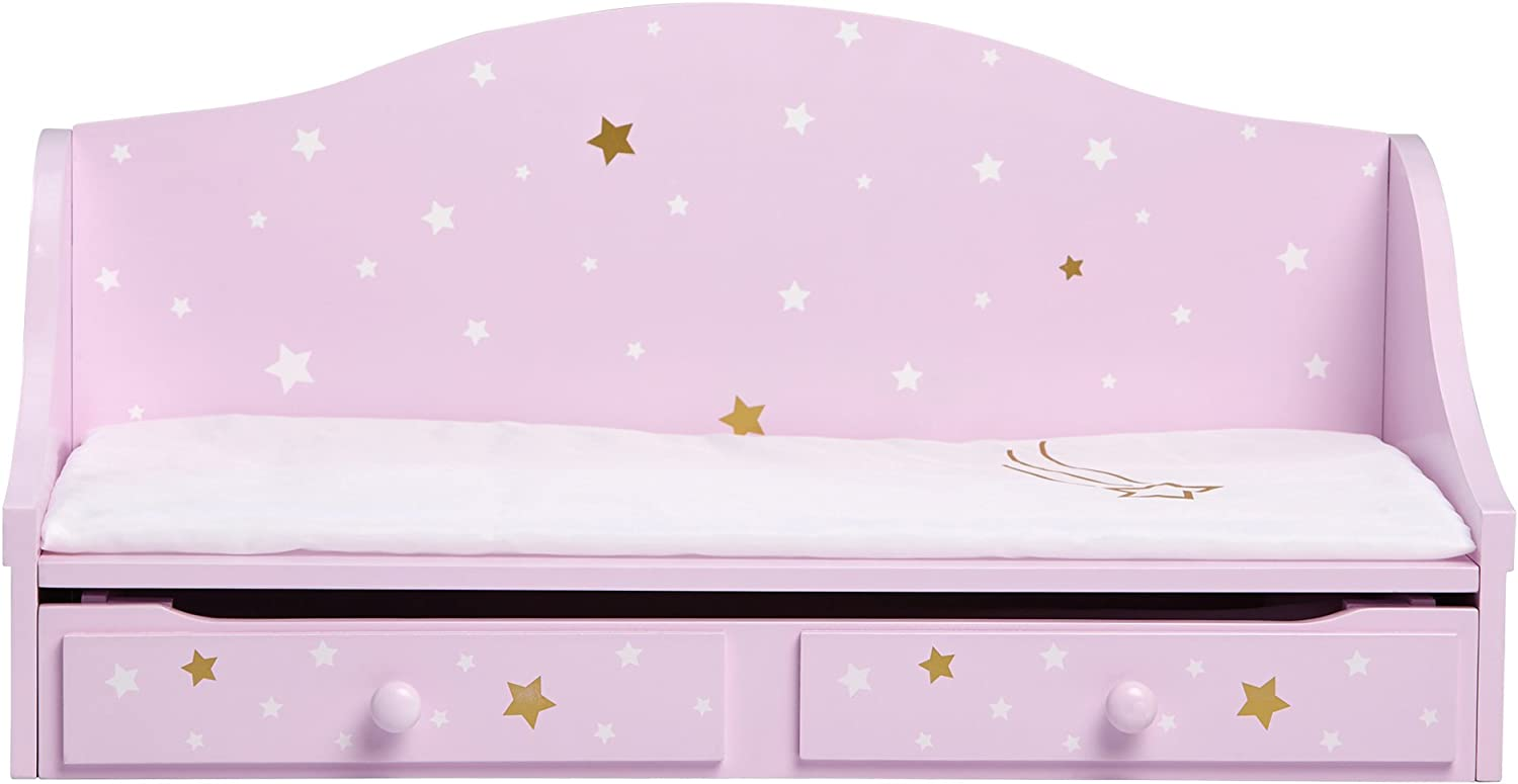 "Olivia's Little World - 18"" Doll Wooden Furniture, Twinkle Stars Doll Trundle Bed, fits American Girls, Purple/Gold"
