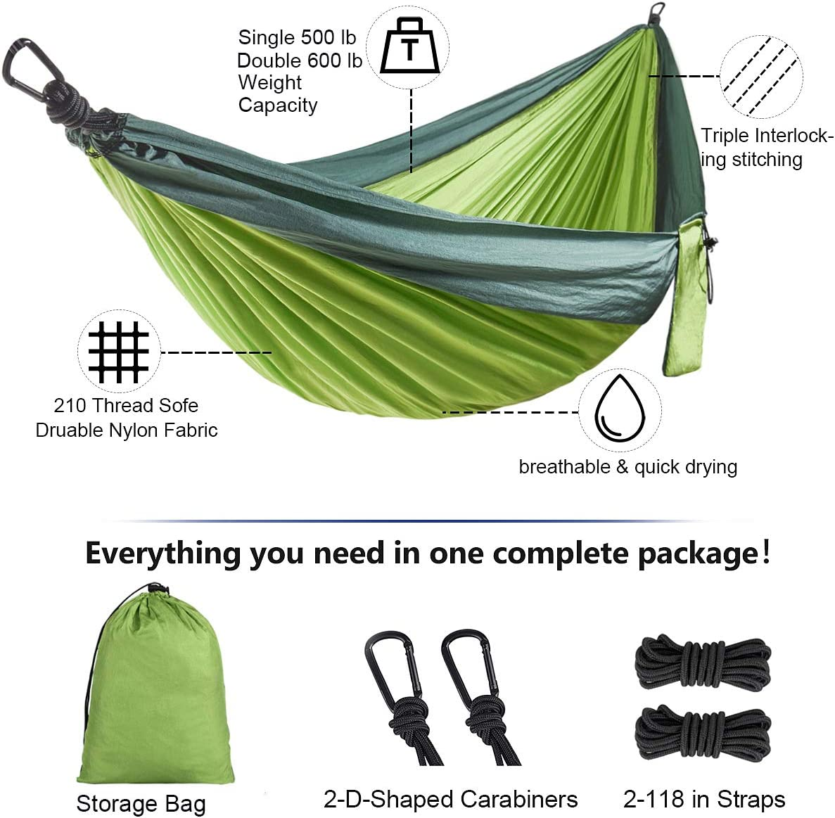 Lifeleads Camping Hammock-Nylon Double and Single Portable Parachute Lightweight for Outdoor or Indoor Backpacking Travel Hiking