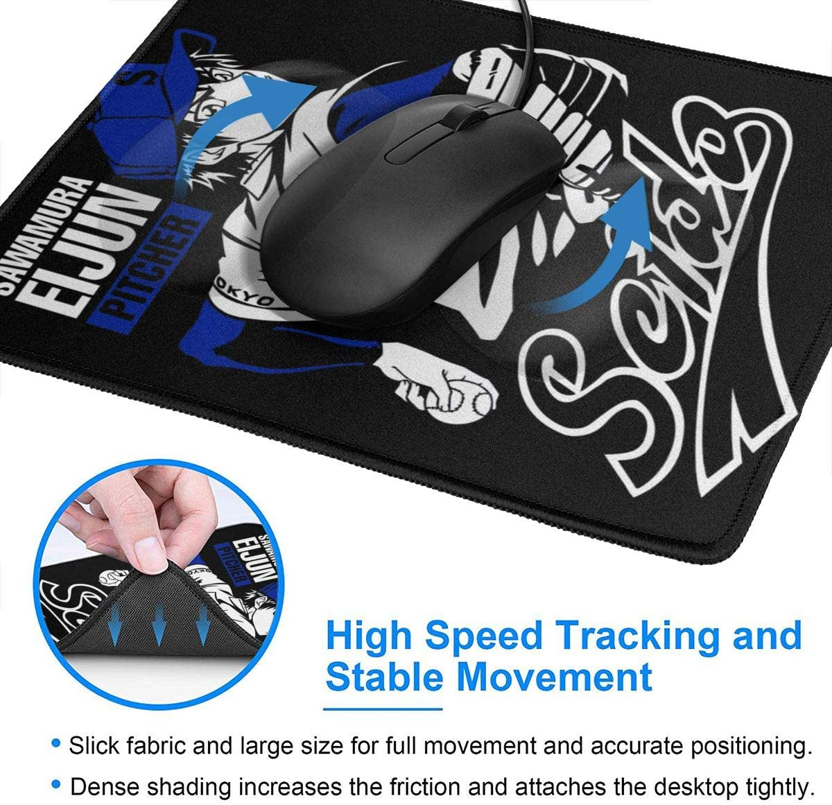 Diamond No Ace Kazuya Miyuki Mouse Pad Non-Slip Gaming Mouse Pad with Stitched Edge Computer PC Mousepad Rubber Base for Office Home
