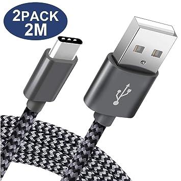 Cable USB Tipo C SUCESO Cable USB C 2-Pack 2M Cable Tipo C Rápida y Sincronización Nylon Compatible con Samsung Galaxy S10/S9/S8 Plus Note 9,Huawei ...