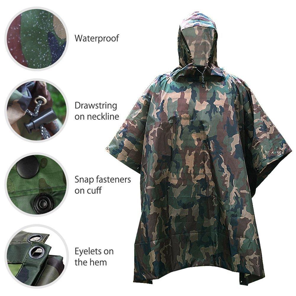 XUE Poncho Pluie Imperm/éables /à Capuche 3 en 1 Multifonction Camouflage Veste Pluie pour Femme Homme pour Militaire Randonn/ée