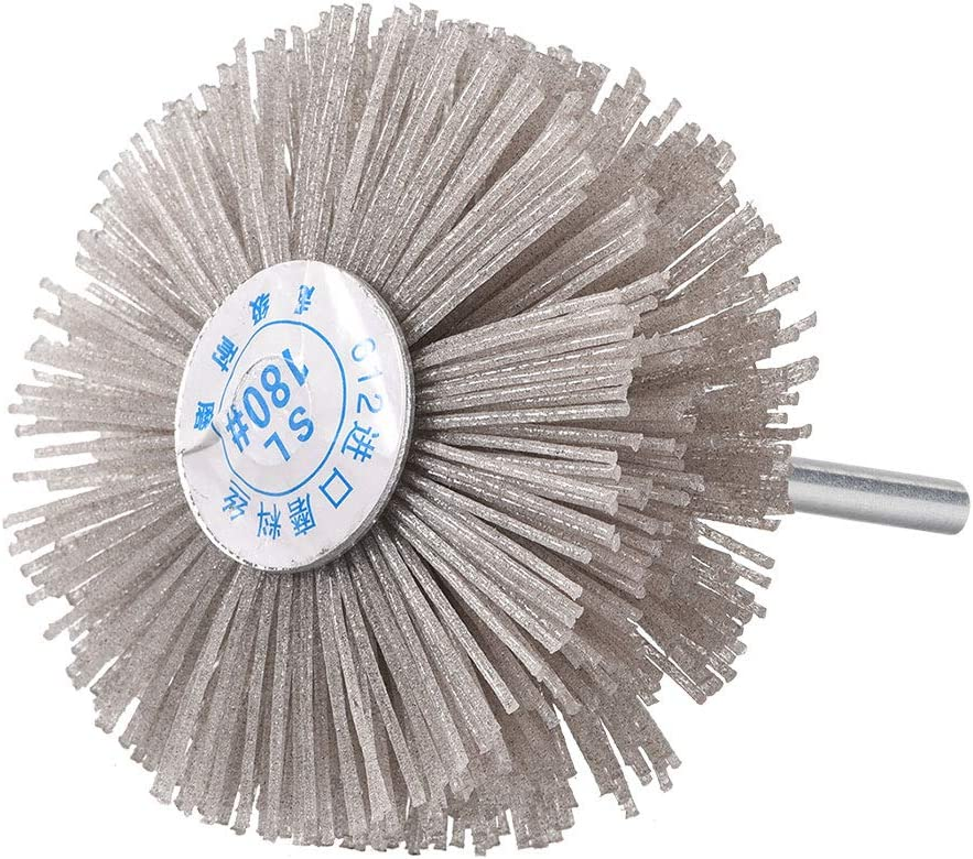 uxcell Abrasive Nylon Wheel Brush 240 Grits with 1//4 Inch Shank for Polish Grinder