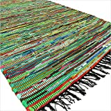 EYES OF INDIA – 3 X 5 ft Green Colorful Chindi Woven Rag Rug Boho Decorative Indian Bohemian Review