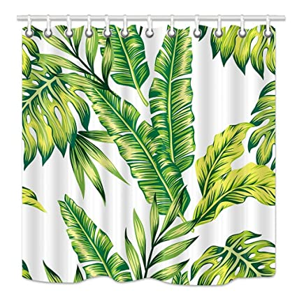 Image Unavailable Not Available For Color Joelory Green Leaves Shower Curtain