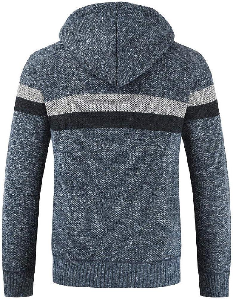 iYBUIA New Mens Autumn Winter Packwork Hooded Zipper Jacket Knit Cardigan Long Sleeve Coat