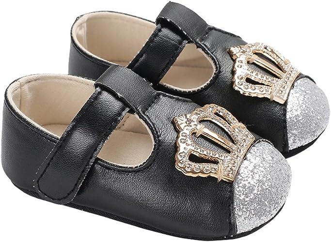 LINKEY Baby Girls Sparkly Stars Mary Jane with Lace Bowknot Wedding Princess Dress Shoe