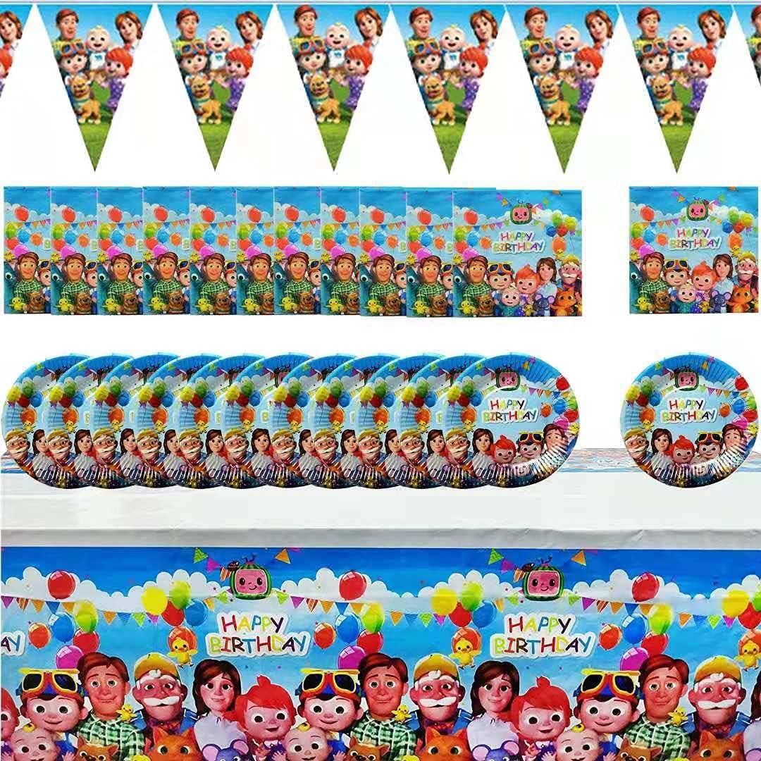 Co-comelon Birthday Party 42pcs Decorations includes 20 Plates,20 Napkin,1 PC Tablecloth,1 PC Pennant,Co-comelon Theme Party Decor Party Supplies