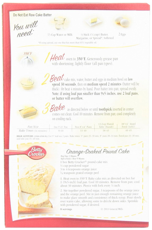 Amazon Betty Crocker Cake Mix Pound Cake 160 Oz Box Pack Of