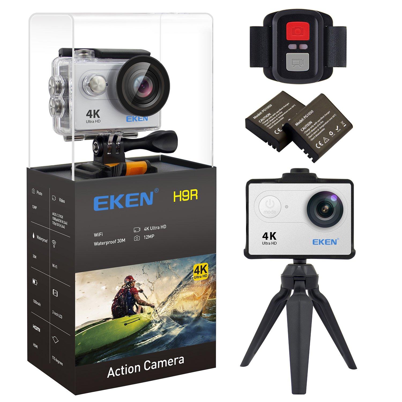 EKEN H9R Action Camera 4K Wifi Waterproof Sports Camera Full HD 4K 25fps 2.7K 30fps 1080P 60fps 720P 120fps Video Camera 12MP Photo and 170 Wide Angle Lens includes 11 Mountings Kit 2 Batteries Silver by EKEN