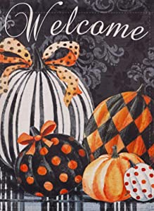 Covido Welcome Garden Flag Happy Halloween Home Decorative Pumpkins Decor Fall Holiday House Yard Outside Small Flag, Autumn Outdoor Decorations Seasonal Black Decor Flag Double Sided 12 x 18