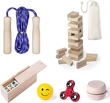 Partituki Pack Juegos Infantiles Incluye: Comba de Saltar, Yoyo de Madera para Niños, Fidget Toy Spinner, 1 Juego Torre de Madera Jenga, 1 Domino Infantil con Dibujos y 1 Pelota Emoji: Amazon.es: