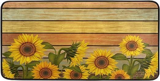 Amazon Com Agona Anti Fatigue Kitchen Mat Vintage Sunflowers Leaves Kitchen Floor Mat Soft Standing Mats Non Slip Kitchen Rugs Bath Rug Runner Carpet For Home Decor Indoor Outdoor Kitchen Dining